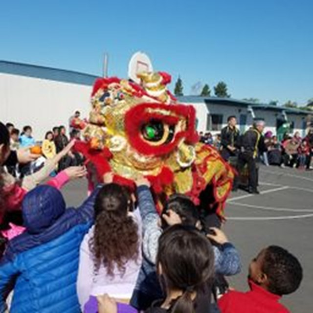 Students enjoy the dragon dancers at the school's Lunar New Year celebration!