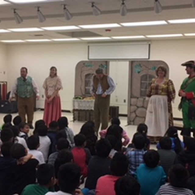 Our staff puts on a performance for an excited class of students.